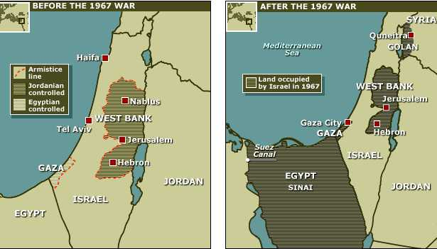 map on the right are the lands Israel acquired as a result of the war.